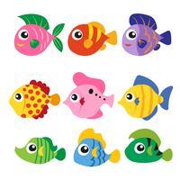 projeto de coleção de vetores de peixe