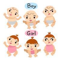 bebê menino e menina vector design