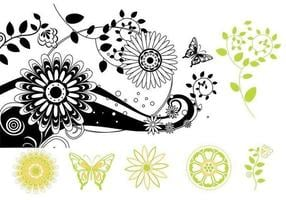Pacote de vetores florais de borboleta