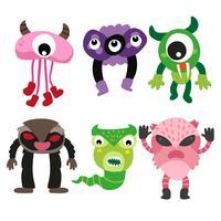 design de coleção de personagens de monstro vetor