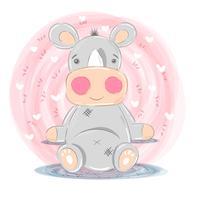 Ilustração de rinoceronte fofo - personagens de desenhos animados vetor
