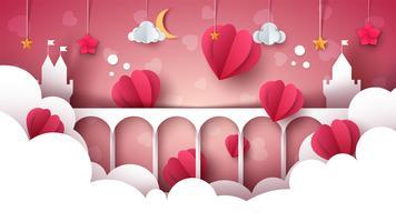 Paisagem dos desenhos animados de fantasia. Castelo, coração, ilustração de amor.