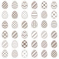 Linha simples conjunto ovo ícone vetor