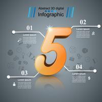 Ilustração digital 3D abstrata Infographic. Ícone de cinco.