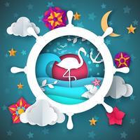 Volante, volante, ilustração flamingo.