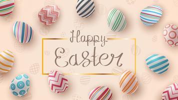 Feliz Páscoa. Modelo de ovo realista. vetor