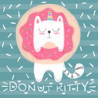 Gato bonito do unicórnio - ilustração engraçada. vetor