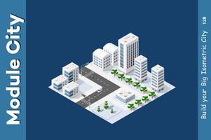 Cidade isométrica de inverno vetor
