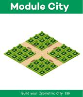 Parque 3D isométrico com um verde