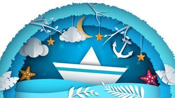 Paisagem de papel do mar. Ilustração do navio.