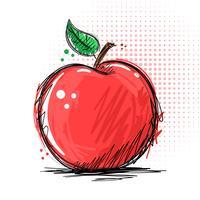 Tinta e marcador - ilustração de apple vetor