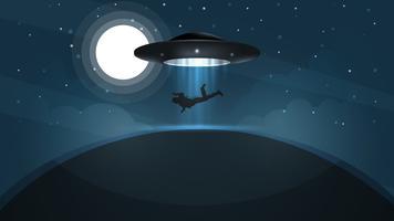 UFO sequestra uma pessoa - ilustração dos desenhos animados