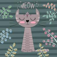 Ilustração bonito dos desenhos animados do gato da princesa. vetor