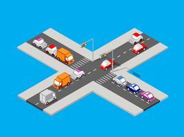 Cruzamento de tráfego isométrico vetor