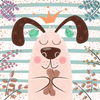 Princesa cachorro fofo - personagens de desenhos animados vetor