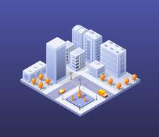 Conjunto moderno de arranha-céus da cidade