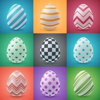 Desenhos animados de Páscoa feliz. Definir ícone de ovo. vetor