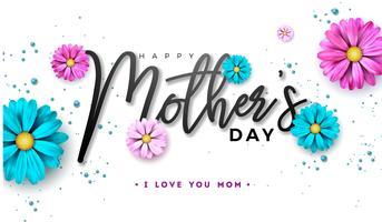 Feliz dia das mães cartão design com flor e typographiy carta vetor