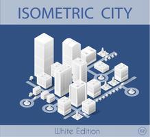A cidade isométrica com arranha-céus vetor