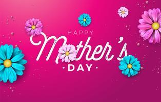 Feliz dia das mães cartão design com flor e tipografia carta vetor