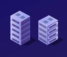 Blockchain conjunto 3D isométrico vetor