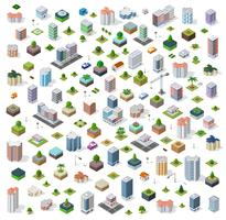 Cidade isométrica rua definida vetor