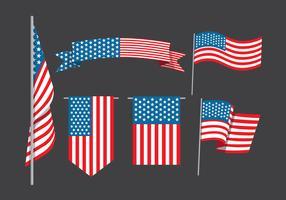 Coleção de bandeira americana vetor