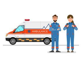 serviço médico de ambulância transportando paciente com pessoal de homem e mulher