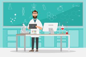 conceito médico. Cientistas homem pesquisa em laboratório de laboratório vetor