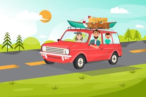 Família feliz. Pai, mãe e filhos vão viajar de carro com fundo de natureza