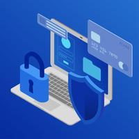 Ilustração em vetor de segurança cibernética