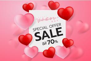 Fundo de venda de dia dos namorados rosa com balões em forma de coração. Vector illustration.Wallpaper.flyers, convite, cartazes, folhetos, banners.