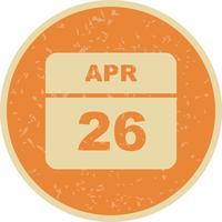 Data de 26 de abril em um calendário de dia único vetor