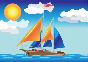 navio com velas ao lado do mar vetor
