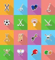 ilustração de ícones plana de equipamentos de esporte