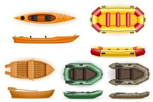 conjunto de barcos a remos feitos de plástico de madeira e ilustração vetorial inflável
