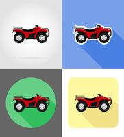 moto ATV em quatro rodas de ilustração em vetor plana estradas ícones