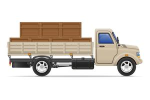 ilustração em vetor carga caminhão entrega e transporte mercadorias conceito