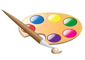 paleta e pincel para desenho vetor