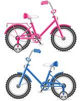ilustração em vetor bicicleta rosa e azul crianças