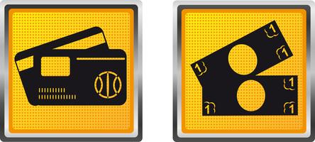 cartão de ícones e dinheiro para ilustração vetorial de design