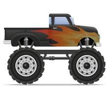 ilustração em vetor pickup carro caminhão monstro
