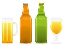 garrafa de cerveja e ilustração vetorial de vidro vetor