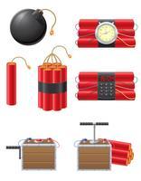 conjunto de ícones de detonação de fusível e ilustração vetorial de dinamite vetor