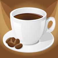 xícara de café e grãos