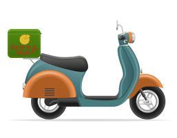 scooter retrô para ilustração em vetor entrega pizza