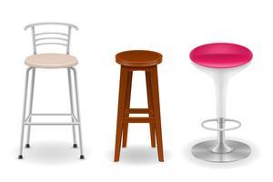 tamborete de cadeira bar conjunto de ilustração em vetor ícones