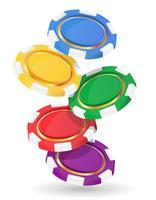 ilustração em vetor de fichas de casino colorido