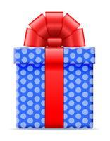 caixa de presente com uma ilustração do vetor de arco