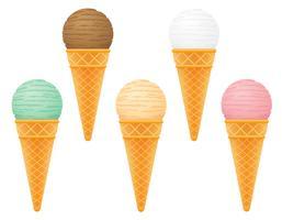 bola de sorvete em ilustração vetorial de cone waffle